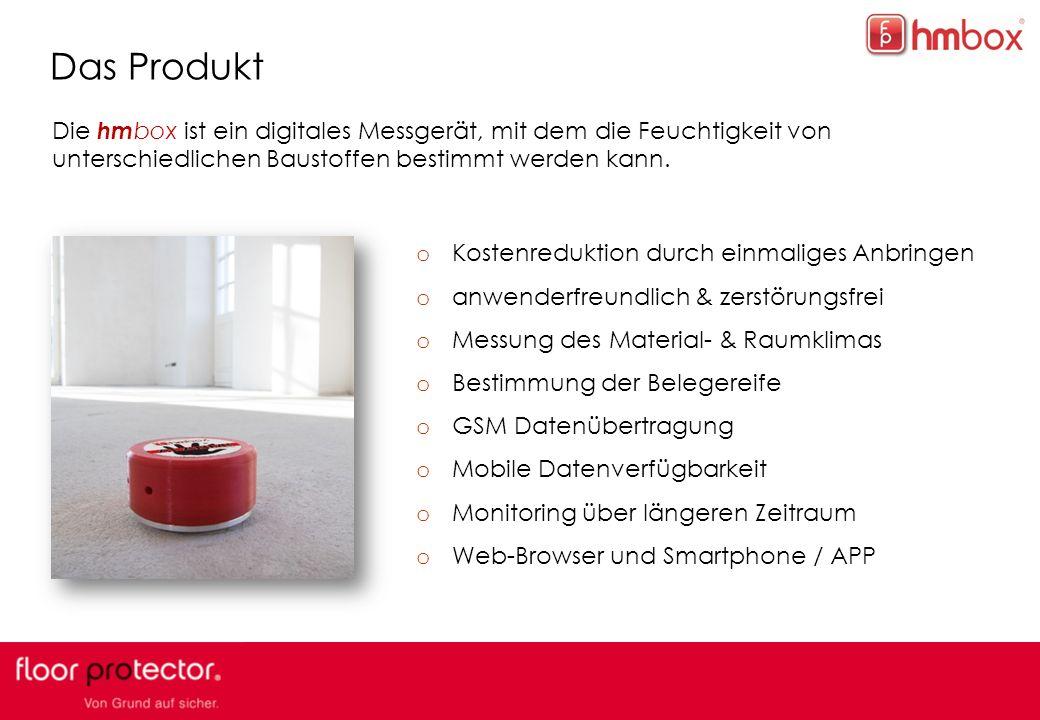 4 Das Produkt Die hm box ist ein digitales Messgerät, mit dem die Feuchtigkeit von unterschiedlichen Baustoffen bestimmt werden kann.