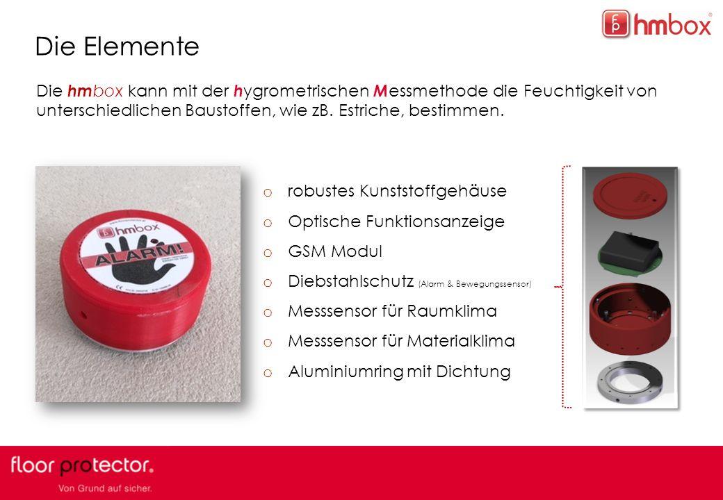 5 Die Elemente Die hm box kann mit der h ygrometrischen M essmethode die Feuchtigkeit von unterschiedlichen Baustoffen, wie zB.