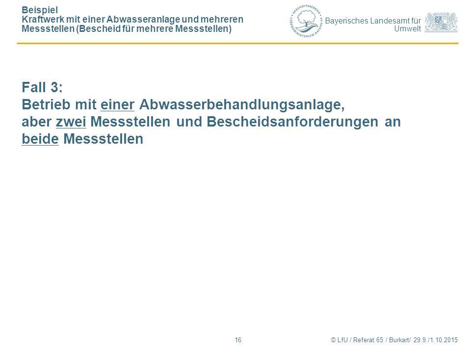 Bayerisches Landesamt für Umwelt © LfU / Referat 65 / Burkart/ 29.9./1.10.2015 Beispiel Kraftwerk mit einer Abwasseranlage und mehreren Messstellen (B