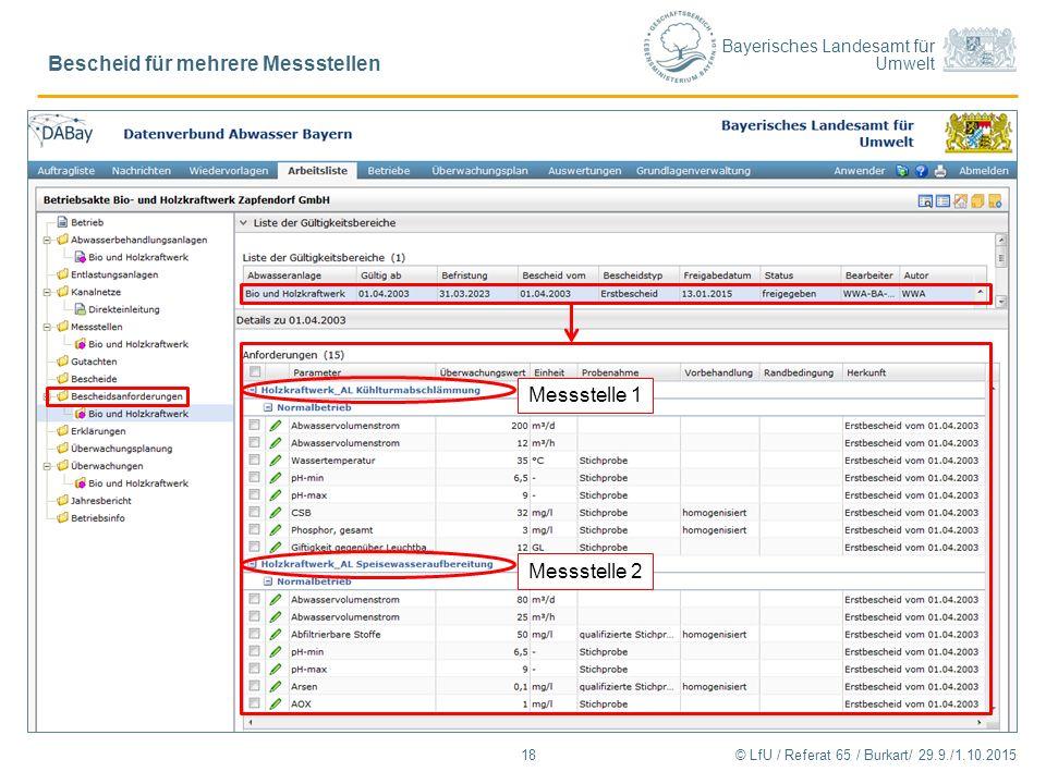 Bayerisches Landesamt für Umwelt © LfU / Referat 65 / Burkart/ 29.9./1.10.2015 Bescheid für mehrere Messstellen 18 Messstelle 1 Messstelle 2