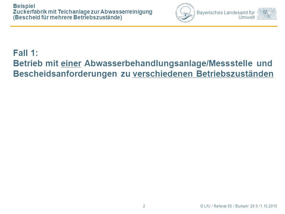 Bayerisches Landesamt für Umwelt © LfU / Referat 65 / Burkart/ 29.9./1.10.2015 Beispiel Zuckerfabrik mit Teichanlage zur Abwasserreinigung (Bescheid für mehrere Betriebszustände) 2 Fall 1: Betrieb mit einer Abwasserbehandlungsanlage/Messstelle und Bescheidsanforderungen zu verschiedenen Betriebszuständen