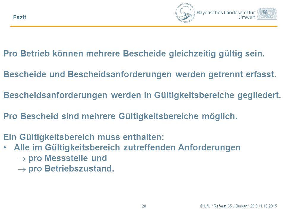 Bayerisches Landesamt für Umwelt © LfU / Referat 65 / Burkart/ 29.9./1.10.2015 Fazit 20 Pro Betrieb können mehrere Bescheide gleichzeitig gültig sein.
