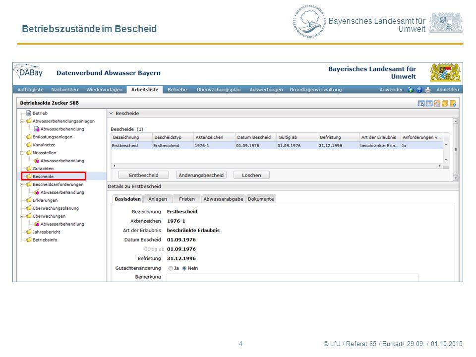 Bayerisches Landesamt für Umwelt © LfU / Referat 65 / Burkart/ 29.09. / 01.10.2015 Betriebszustände im Bescheid 4