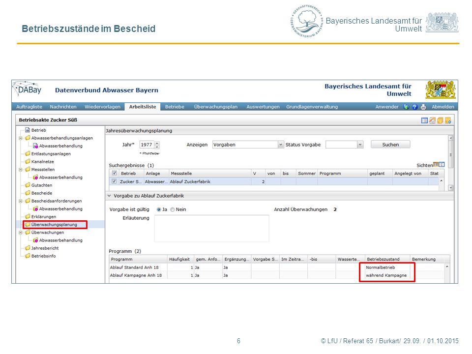 Bayerisches Landesamt für Umwelt Betriebszustände im Bescheid 6© LfU / Referat 65 / Burkart/ 29.09. / 01.10.2015