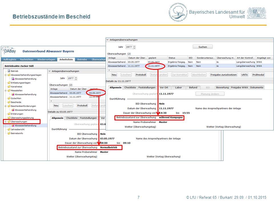 Bayerisches Landesamt für Umwelt Betriebszustände im Bescheid 7© LfU / Referat 65 / Burkart/ 29.09. / 01.10.2015