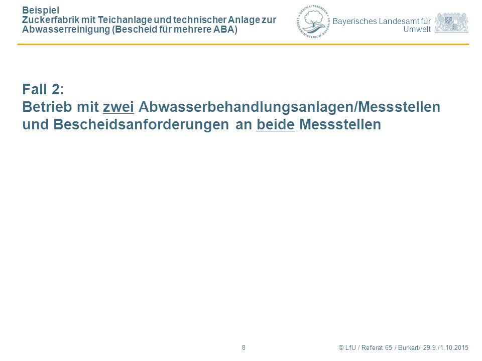 Bayerisches Landesamt für Umwelt © LfU / Referat 65 / Burkart/ 29.9./1.10.2015 Beispiel Zuckerfabrik mit Teichanlage und technischer Anlage zur Abwass