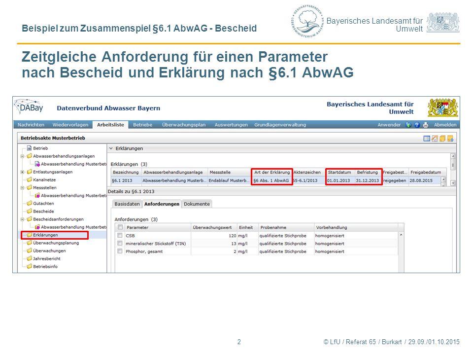 Bayerisches Landesamt für Umwelt Zeitgleiche Anforderung für einen Parameter nach Bescheid und Erklärung nach §6.1 AbwAG © LfU / Referat 65 / Burkart / 29.09./01.10.2015 Beispiel zum Zusammenspiel §6.1 AbwAG - Bescheid 2