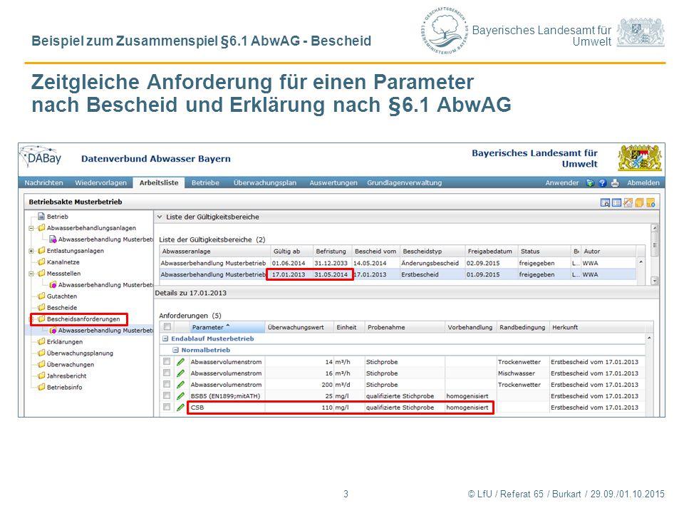 Bayerisches Landesamt für Umwelt Zeitgleiche Anforderung für einen Parameter nach Bescheid und Erklärung nach §6.1 AbwAG © LfU / Referat 65 / Burkart / 29.09./01.10.2015 Beispiel zum Zusammenspiel §6.1 AbwAG - Bescheid 3