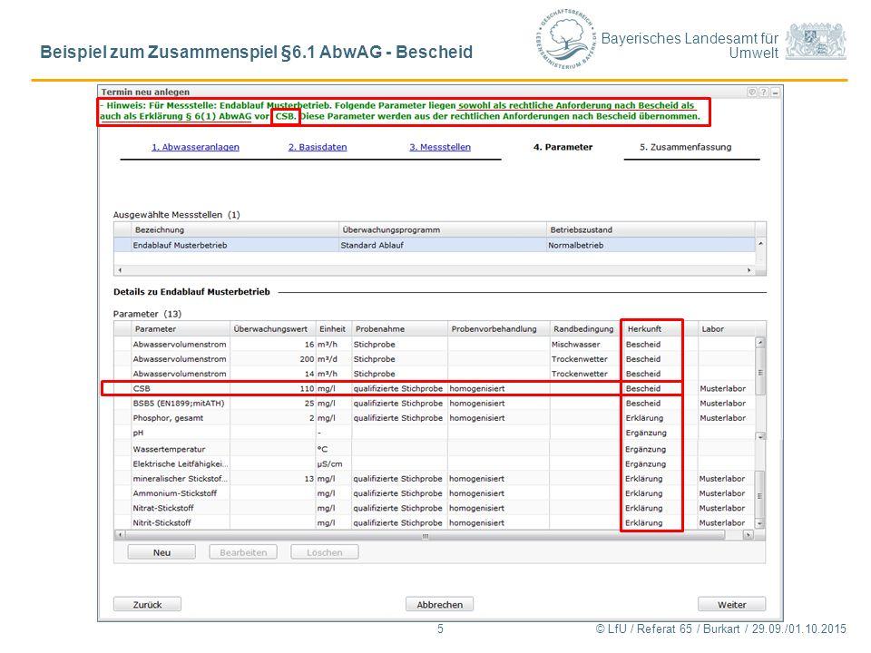Bayerisches Landesamt für Umwelt © LfU / Referat 65 / Burkart / 29.09./01.10.2015 Beispiel zum Zusammenspiel §6.1 AbwAG - Bescheid 5