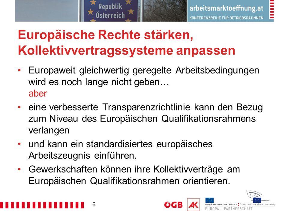 6 Europäische Rechte stärken, Kollektivvertragssysteme anpassen Europaweit gleichwertig geregelte Arbeitsbedingungen wird es noch lange nicht geben… aber eine verbesserte Transparenzrichtlinie kann den Bezug zum Niveau des Europäischen Qualifikationsrahmens verlangen und kann ein standardisiertes europäisches Arbeitszeugnis einführen.