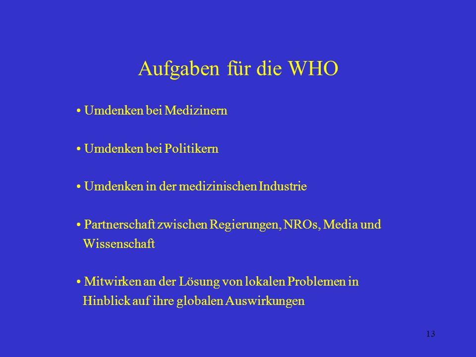 13 Aufgaben für die WHO Umdenken bei Medizinern Umdenken bei Politikern Umdenken in der medizinischen Industrie Partnerschaft zwischen Regierungen, NROs, Media und Wissenschaft Mitwirken an der Lösung von lokalen Problemen in Hinblick auf ihre globalen Auswirkungen