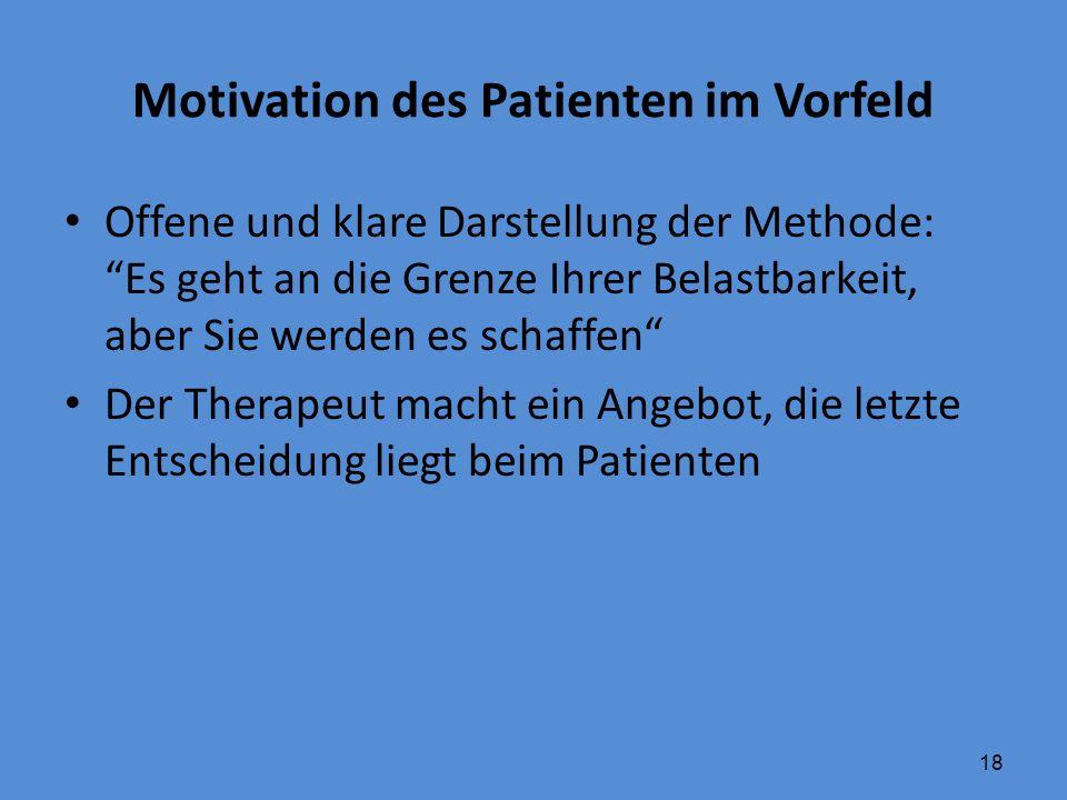 """18 Motivation des Patienten im Vorfeld Offene und klare Darstellung der Methode: """"Es geht an die Grenze Ihrer Belastbarkeit, aber Sie werden es schaff"""