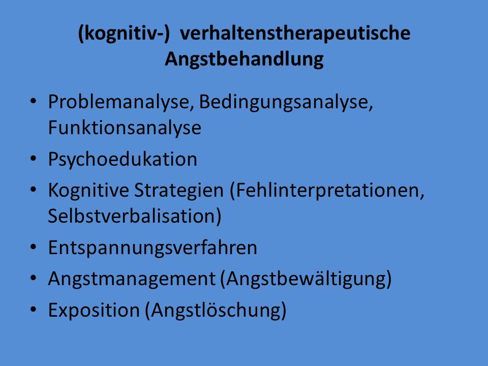 (kognitiv-) verhaltenstherapeutische Angstbehandlung Problemanalyse, Bedingungsanalyse, Funktionsanalyse Psychoedukation Kognitive Strategien (Fehlint