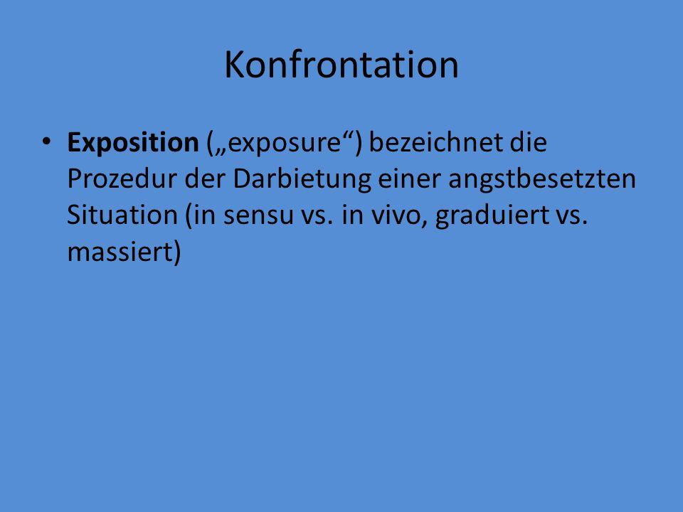 """Konfrontation Exposition (""""exposure"""") bezeichnet die Prozedur der Darbietung einer angstbesetzten Situation (in sensu vs. in vivo, graduiert vs. massi"""