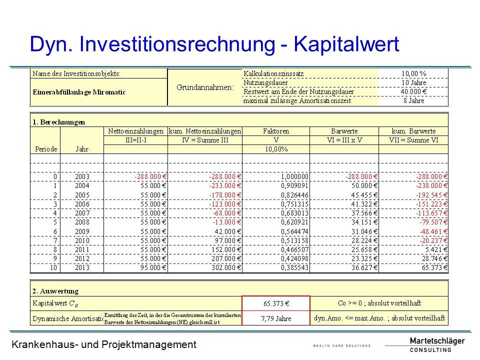 Krankenhaus- und Projektmanagement Dyn. Investitionsrechnung - Kapitalwert