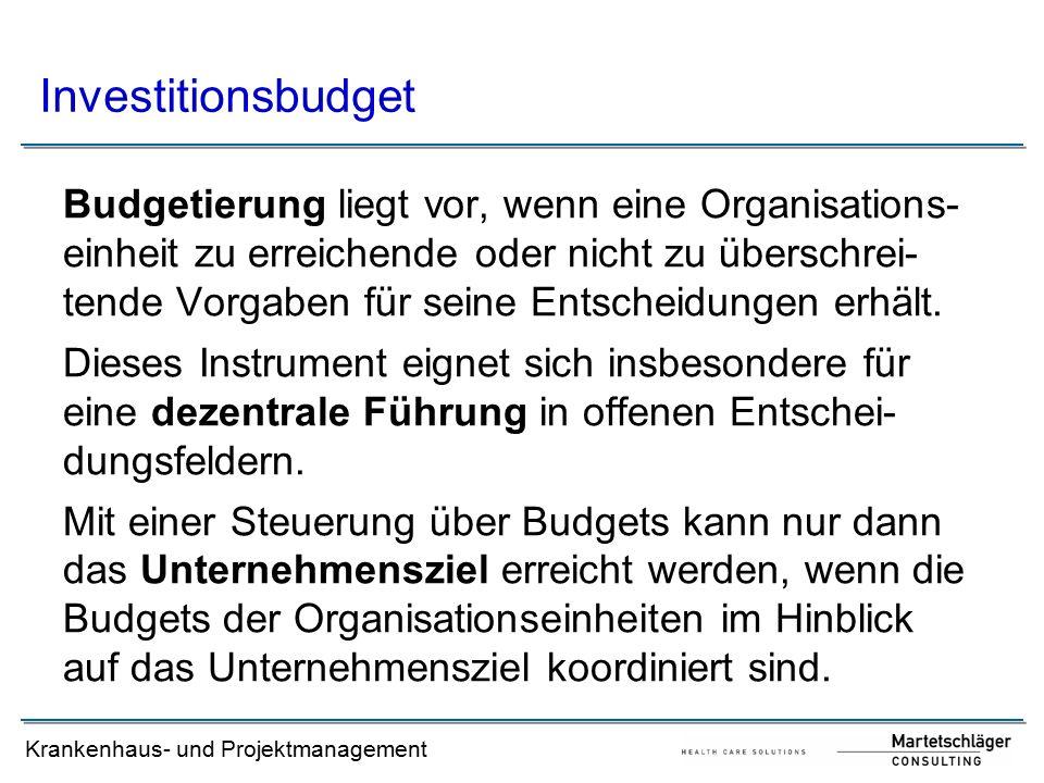 Krankenhaus- und Projektmanagement Budgetierung liegt vor, wenn eine Organisations- einheit zu erreichende oder nicht zu überschrei- tende Vorgaben fü
