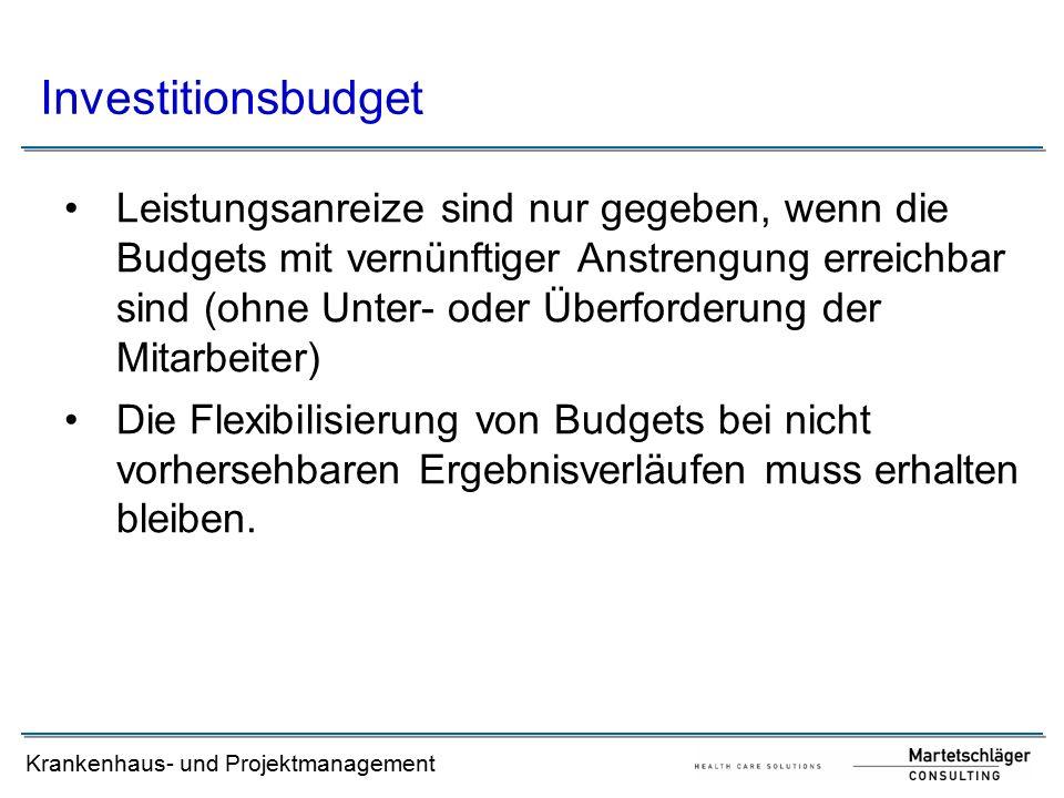 Krankenhaus- und Projektmanagement Leistungsanreize sind nur gegeben, wenn die Budgets mit vernünftiger Anstrengung erreichbar sind (ohne Unter- oder