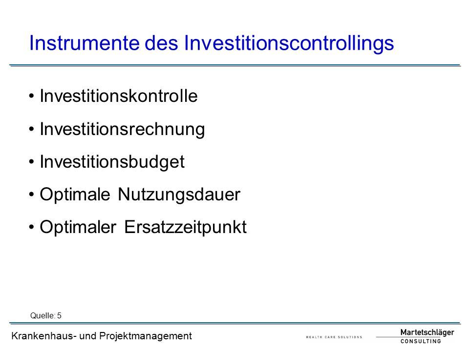 Krankenhaus- und Projektmanagement Investitionskontrolle Objektbezogene vs.