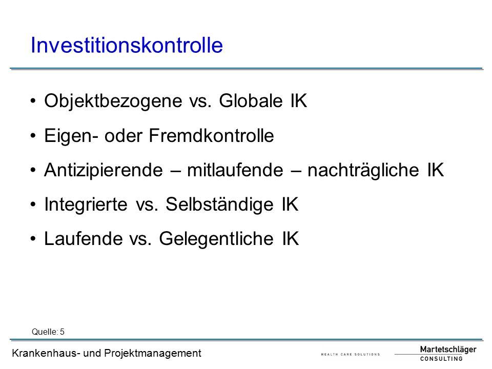 Krankenhaus- und Projektmanagement Investitionskontrolle Objektbezogene vs. Globale IK Eigen- oder Fremdkontrolle Antizipierende – mitlaufende – nacht