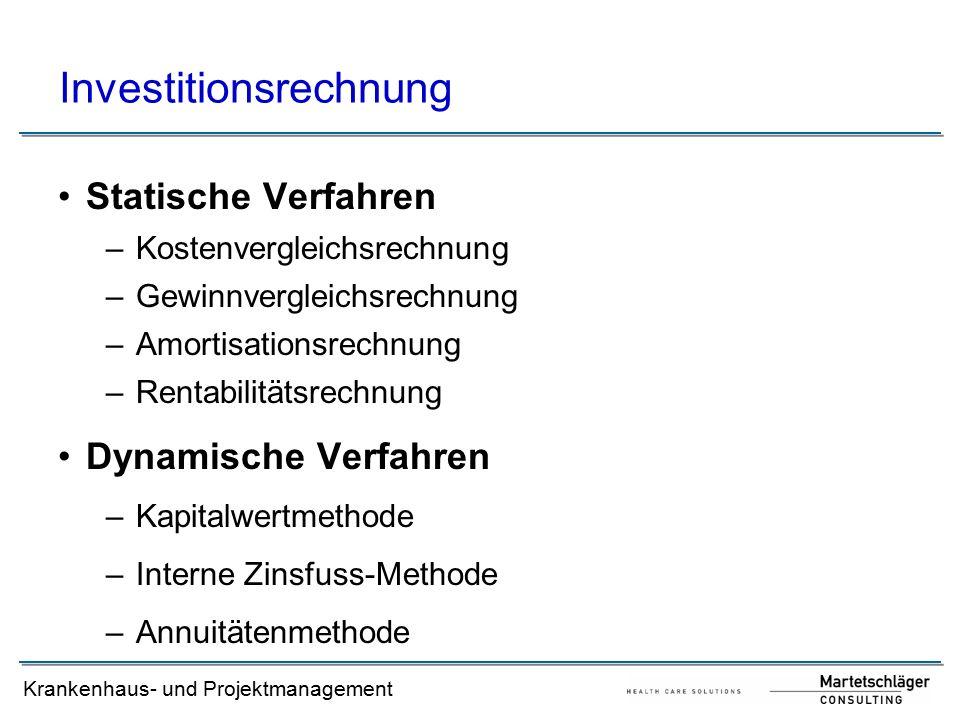 Krankenhausmanagement Literaturverzeichnis: [1]Adam, D., Investitionscontrolling, 3.
