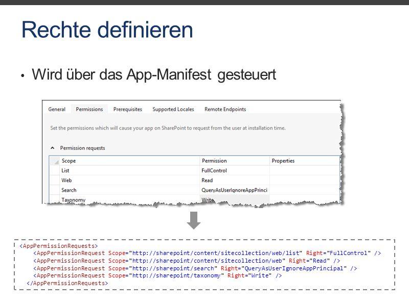 Rechte definieren Wird über das App-Manifest gesteuert