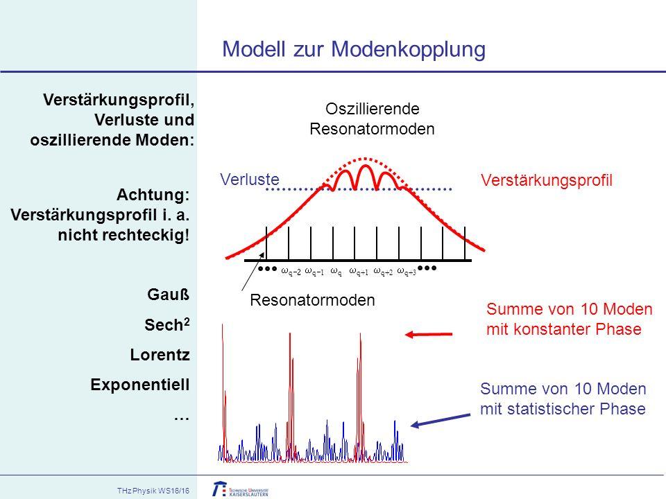 THz Physik WS16/16 Verstärkungsprofil, Verluste und oszillierende Moden: Oszillierende Resonatormoden qq Verstärkungsprofil  q+1 q1q1 Verluste