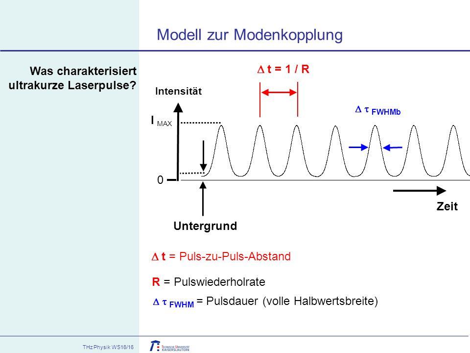 THz Physik WS16/16 Was charakterisiert ultrakurze Laserpulse? Zeit  t = 1 / R   FWHMb I MAX 0 Intensität Untergrund  t = Puls-zu-Puls-Abstand R =