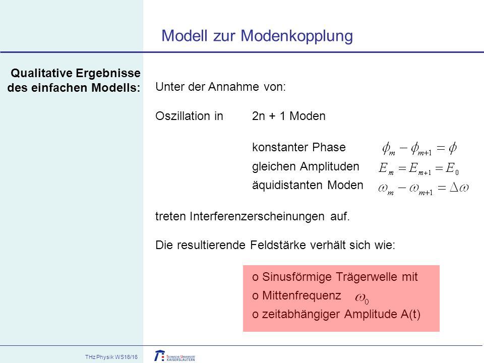 THz Physik WS16/16 Qualitative Ergebnisse des einfachen Modells: Unter der Annahme von: Oszillation in 2n + 1 Moden konstanter Phase gleichen Amplitud