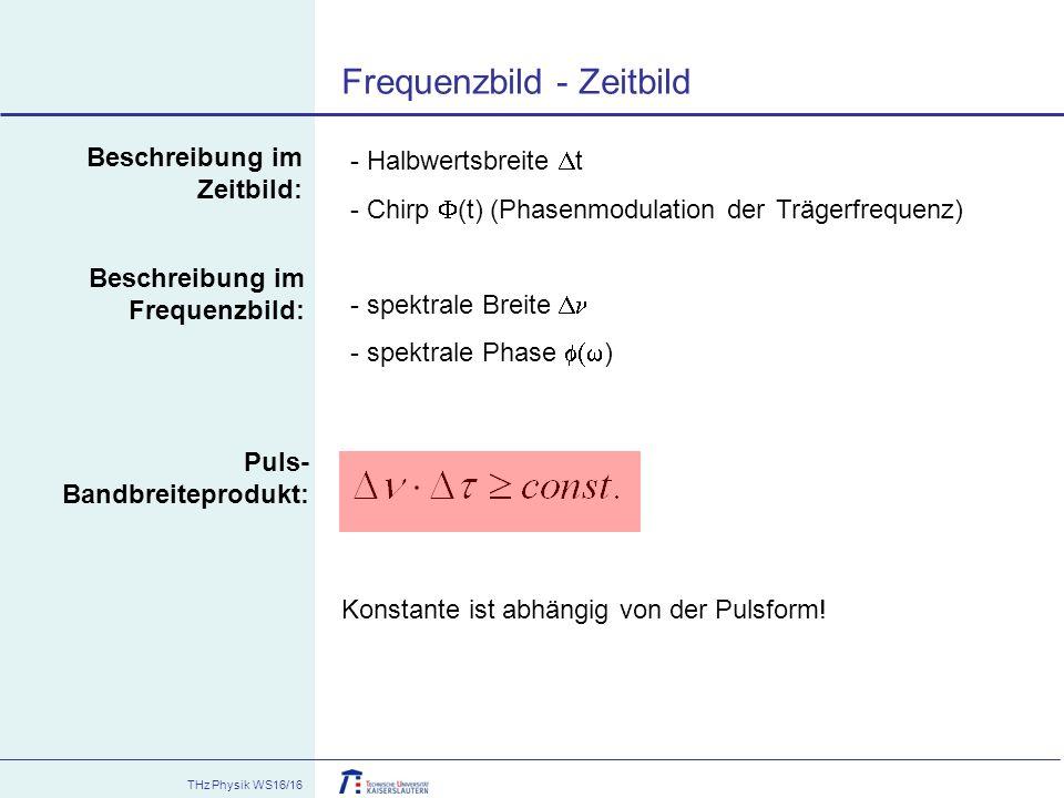 THz Physik WS16/16 Frequenzbild - Zeitbild - Halbwertsbreite  t - Chirp  (t) (Phasenmodulation der Trägerfrequenz) - spektrale Breite  - spektrale