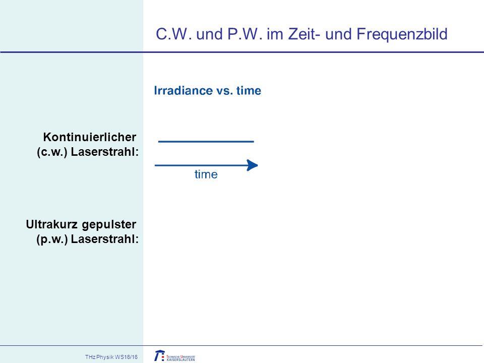 THz Physik WS16/16 C.W. und P.W. im Zeit- und Frequenzbild Kontinuierlicher (c.w.) Laserstrahl: Ultrakurz gepulster (p.w.) Laserstrahl: