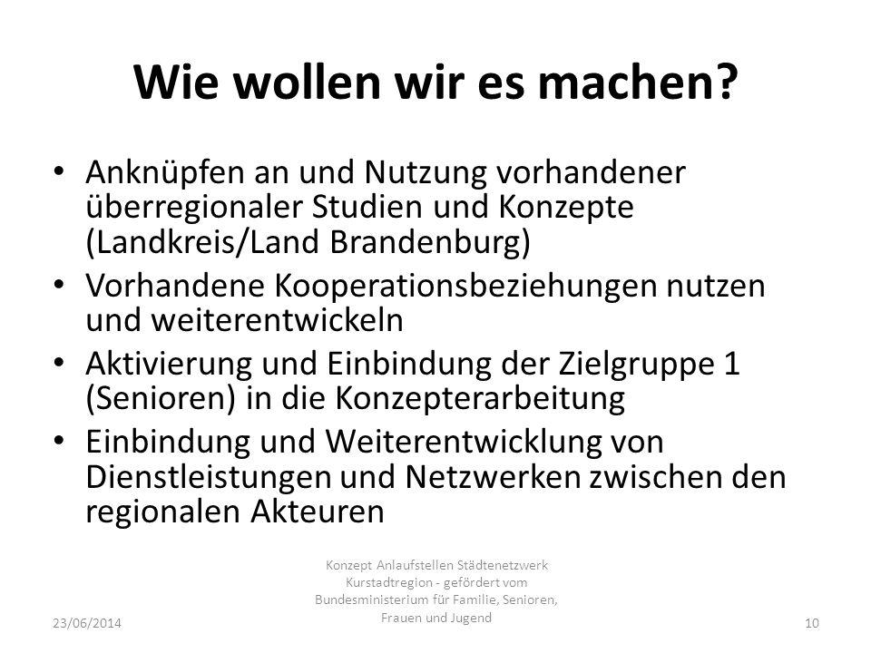 Wie wollen wir es machen? Anknüpfen an und Nutzung vorhandener überregionaler Studien und Konzepte (Landkreis/Land Brandenburg) Vorhandene Kooperation