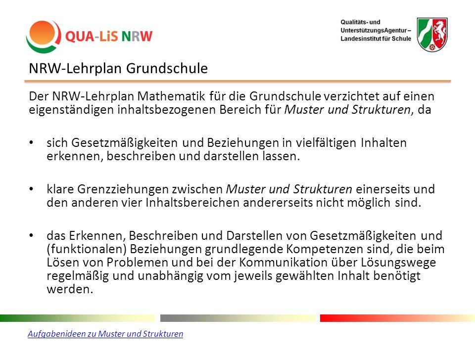 NRW-Lehrplan Grundschule Der NRW-Lehrplan Mathematik für die Grundschule verzichtet auf einen eigenständigen inhaltsbezogenen Bereich für Muster und S