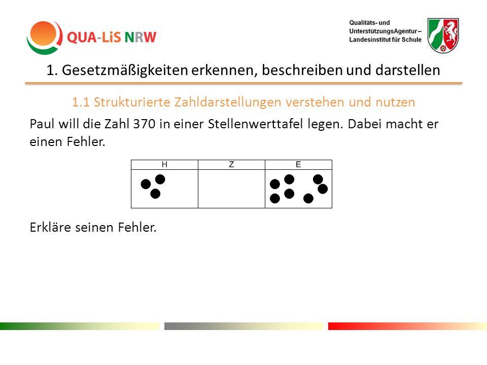 1. Gesetzmäßigkeiten erkennen, beschreiben und darstellen 1.1 Strukturierte Zahldarstellungen verstehen und nutzen Paul will die Zahl 370 in einer Ste