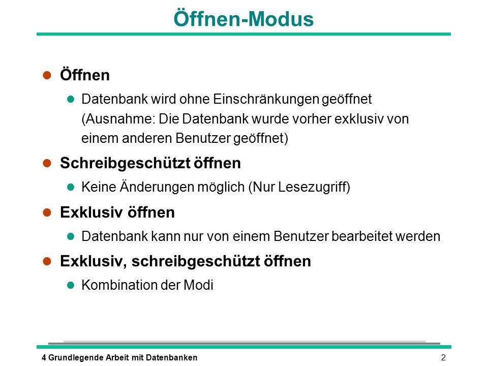 24 Grundlegende Arbeit mit Datenbanken Öffnen-Modus l Öffnen l Datenbank wird ohne Einschränkungen geöffnet (Ausnahme: Die Datenbank wurde vorher exkl