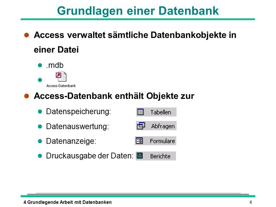 44 Grundlegende Arbeit mit Datenbanken l Access verwaltet sämtliche Datenbankobjekte in einer Datei l.mdb l l Access-Datenbank enthält Objekte zur l D