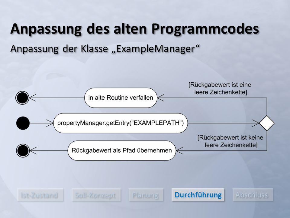 """Ist-Zustand Soll-Konzept Planung Durchführung Abschluss Anpassung des alten Programmcodes Anpassung der Klasse """"ExampleManager"""