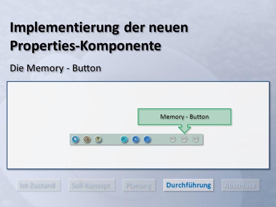 Ist-Zustand Soll-Konzept Planung Durchführung Abschluss Implementierung der neuen Properties-Komponente Die Memory - Button Memory - Button