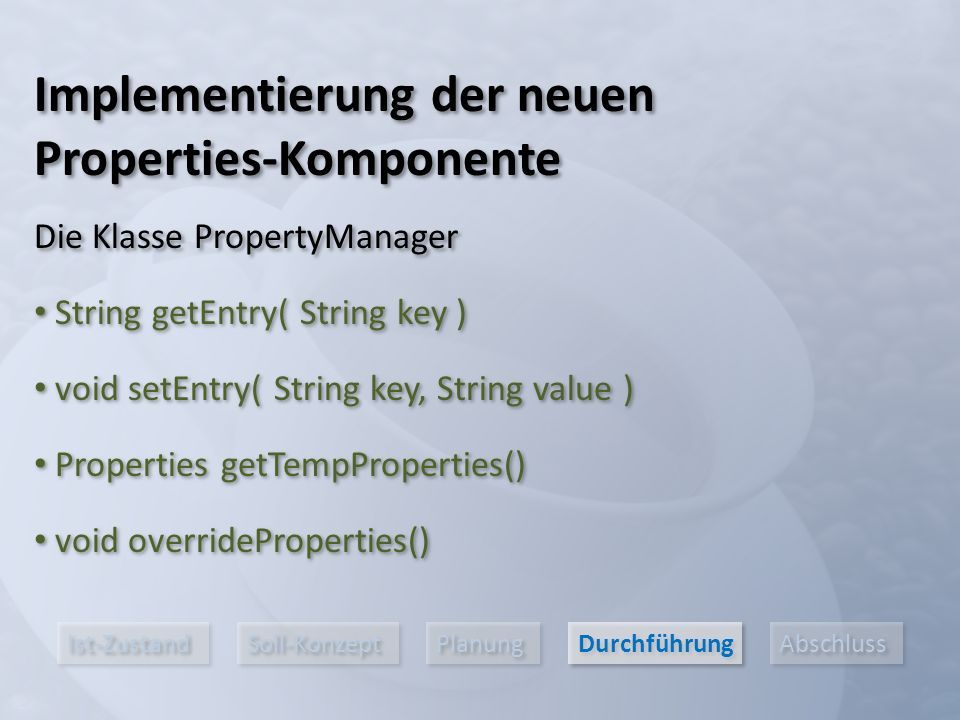 Ist-Zustand Soll-Konzept Planung Durchführung Abschluss Implementierung der neuen Properties-Komponente Die Klasse PropertyManager String getEntry( String key ) void setEntry( String key, String value ) Properties getTempProperties() void overrideProperties()