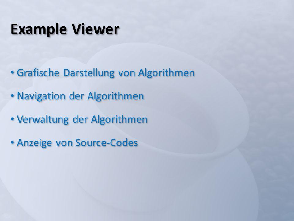 Example Viewer Grafische Darstellung von Algorithmen Navigation der Algorithmen Verwaltung der Algorithmen Anzeige von Source-Codes