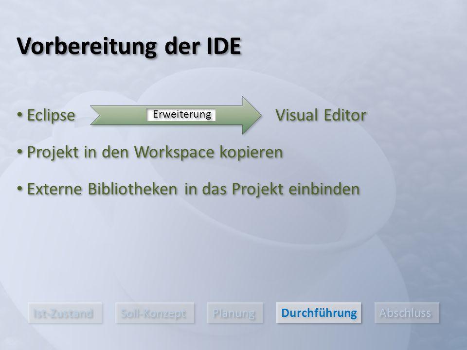 Ist-Zustand Soll-Konzept Planung Durchführung Abschluss Eclipse Projekt in den Workspace kopieren Vorbereitung der IDE Visual Editor Erweiterung Externe Bibliotheken in das Projekt einbinden
