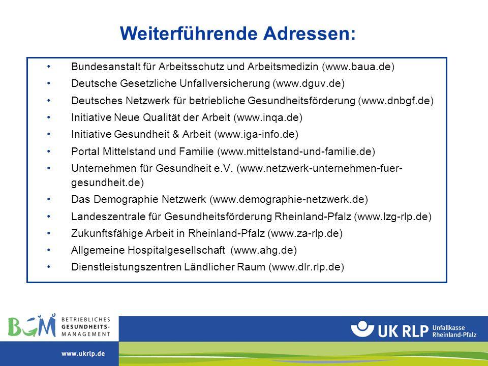 Bundesanstalt für Arbeitsschutz und Arbeitsmedizin (www.baua.de) Deutsche Gesetzliche Unfallversicherung (www.dguv.de) Deutsches Netzwerk für betriebl