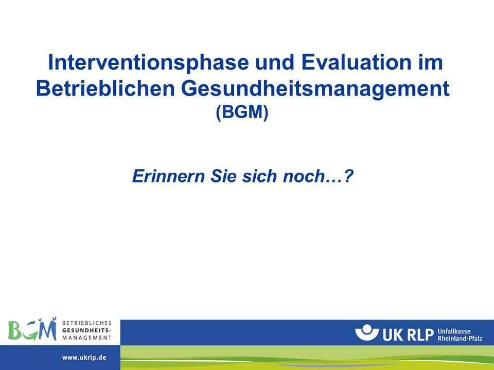 Interventionsphase und Evaluation im Betrieblichen Gesundheitsmanagement (BGM) Erinnern Sie sich noch…?
