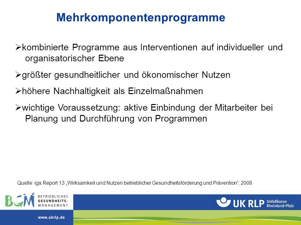 Mehrkomponentenprogramme  kombinierte Programme aus Interventionen auf individueller und organisatorischer Ebene  größter gesundheitlicher und ökono