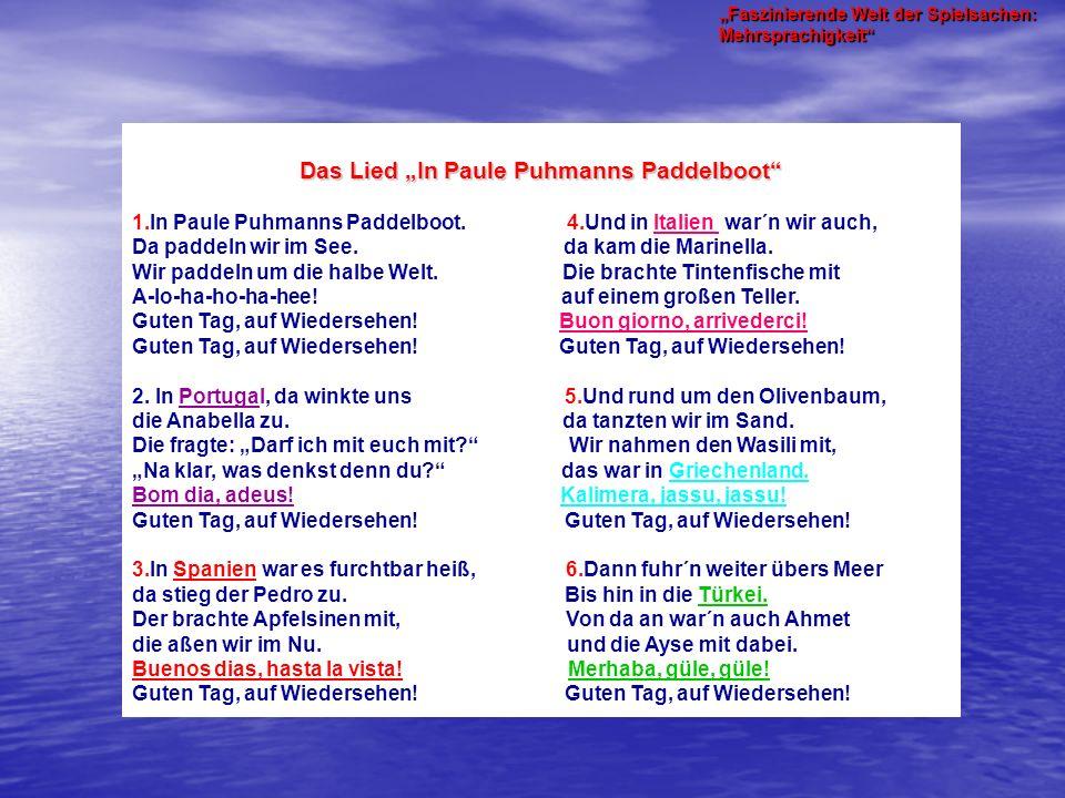 """Das Lied """"In Paule Puhmanns Paddelboot 1.In Paule Puhmanns Paddelboot."""