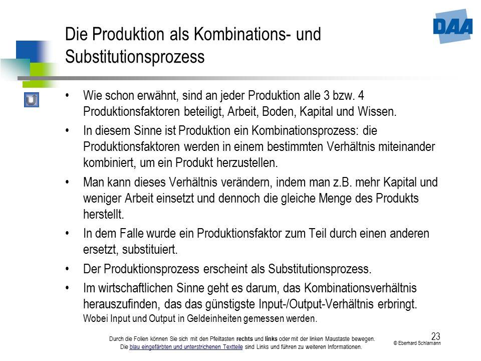 23 © Eberhard Schlamann Durch die Folien können Sie sich mit den Pfeiltasten rechts und links oder mit der linken Maustaste bewegen. Die blau eingefär