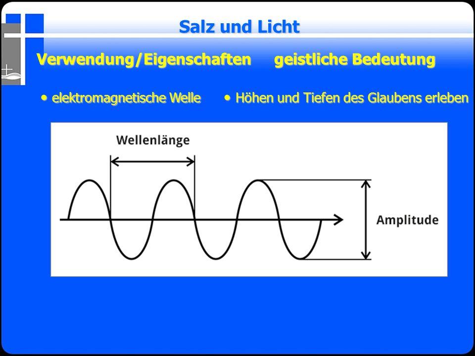 Verwendung/Eigenschaftengeistliche Bedeutung Salz und Licht elektromagnetische Welle elektromagnetische Welle Höhen und Tiefen des Glaubens erleben Hö