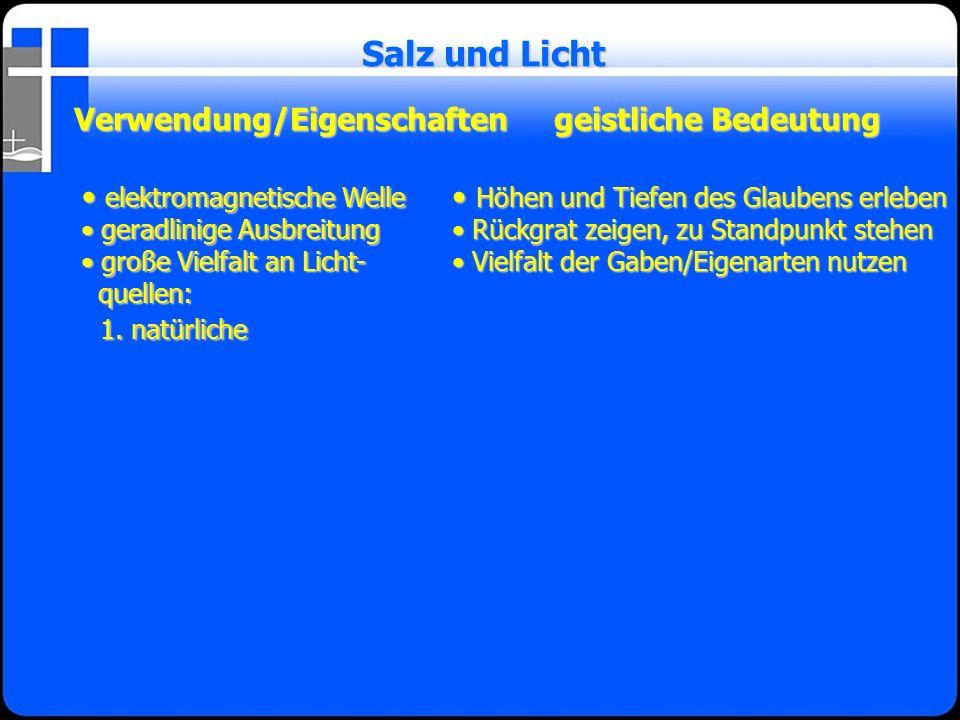 Verwendung/Eigenschaftengeistliche Bedeutung Salz und Licht elektromagnetische Welle elektromagnetische Welle geradlinige Ausbreitung geradlinige Ausb