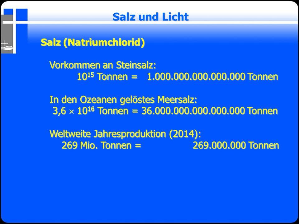 Salz (Natriumchlorid) Vorkommen an Steinsalz: 10 15 Tonnen = 1.000.000.000.000.000 Tonnen 10 15 Tonnen = 1.000.000.000.000.000 Tonnen In den Ozeanen g