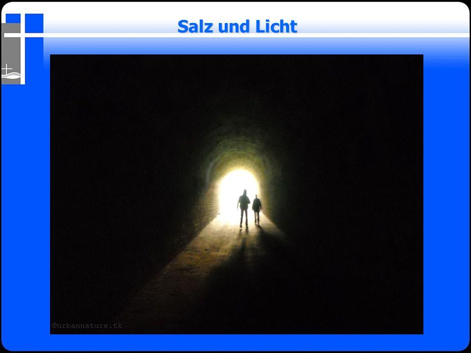 Licht bedeutet Leben Licht bedeutet Leben Licht gibt Orientierung, Wegweisung und erzeugt Hoffnung Licht gibt Orientierung, Wegweisung und erzeugt Hoffnung Licht ist das Gegenteil von Dunkelheit und vertreibt diese Licht ist das Gegenteil von Dunkelheit und vertreibt diese durch seine Anwesenheit durch seine Anwesenheit Licht erhellt, deckt alles auf Licht erhellt, deckt alles auf Salz und Licht
