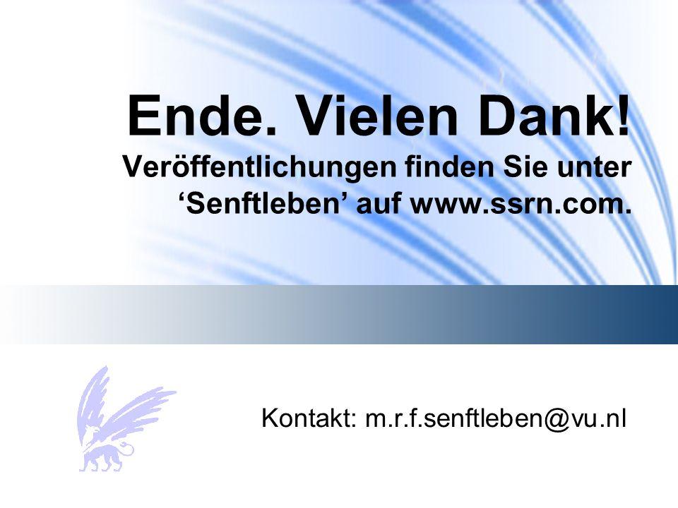 Ende. Vielen Dank. Veröffentlichungen finden Sie unter 'Senftleben' auf www.ssrn.com.